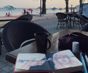 coffee, painting, and sketch image