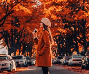autumn, girl, and orange image