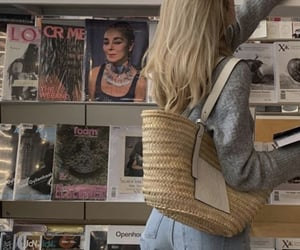 blonde, book, and fashion image