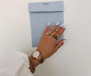 blue nails, jewelry, and nails image