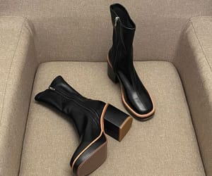 leather, simple, and thick heels image