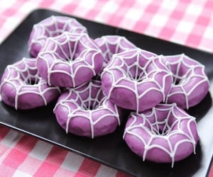 baking, Halloween, and purple doughnuts image