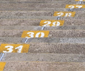cement, numbers, and stairs image