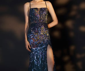 evening dress, open back, and blue party gown image