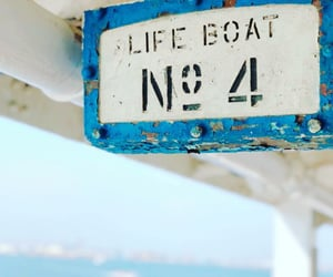 beach, signs, and boat image
