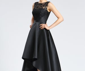 prom wear, black party dress, and lace evening gown image