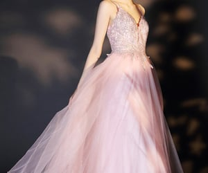 party wear, pink prom dress, and beaded lace image