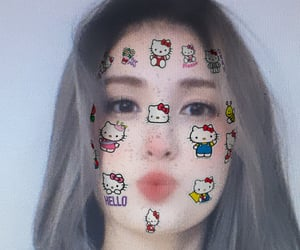 girl group, somi ioi, and sanrio filter image