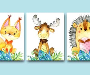 etsy, animal watercolor, and baby animals art image