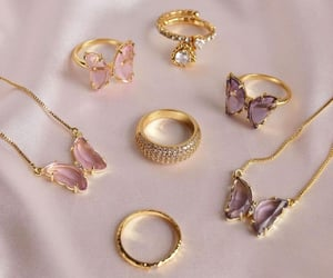butterfly, gold, and accessories image