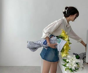 fashion, jean, and flowers image