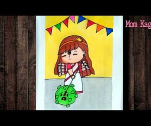 video, autumn drawing, and easy scenery drawing image