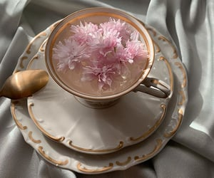 flowers, tea, and coffee image