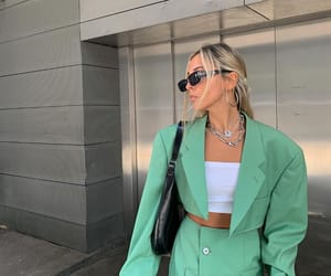 blogger, green tones, and outfit image
