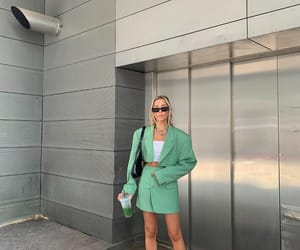 blogger, fashion, and green tones image
