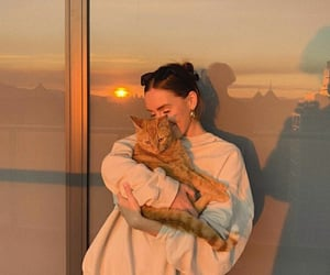 cat, girl, and sun image