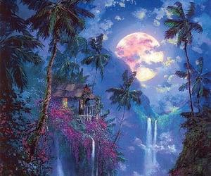 art, moon, and jungle image