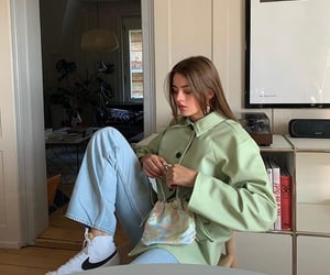 wide leg jeans, ig inspo, and white nike sneakers image