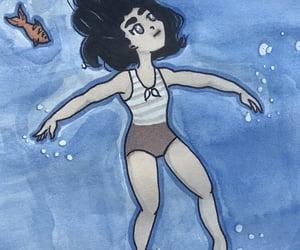 art, swim, and watercolor image
