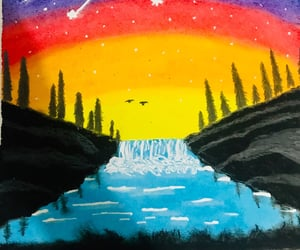 beautiful, painting, and waterfall image