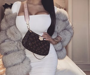 accessories, fur coat, and dress image