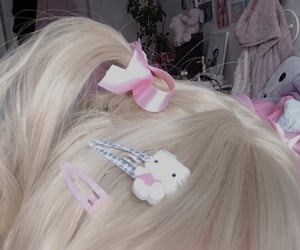 hair, hello kitty, and pink image
