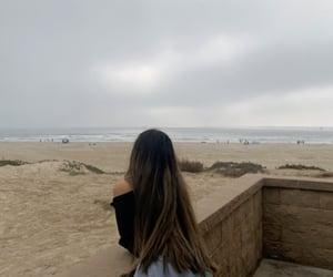 beach, brown hair, and jean shorts image