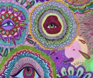 art, eyes, and rainbow image