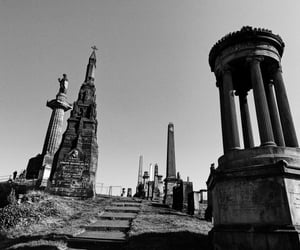 b&w, cemetery, and glasgow image