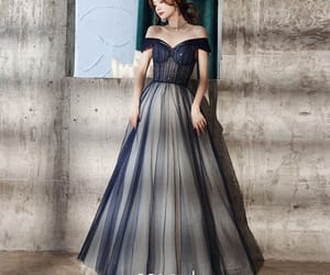 girl, long dress, and tulle image