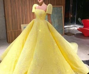 yellow prom dress, vestido de fiesta, and ball gown prom dress image