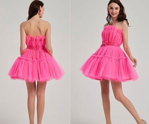 red carpet dress, hot pink party dress, and ruffles cocktail dress image