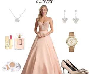 spaghetti straps, prom ball gown, and pink evening dress image