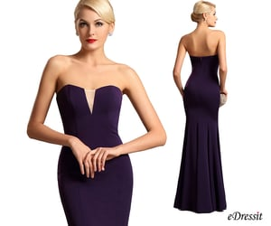 strapless, bridesmaid dress, and purple party dress image