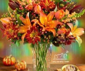 autumn, coffee, and flower image