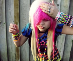 blonde, girl, and pink hair image