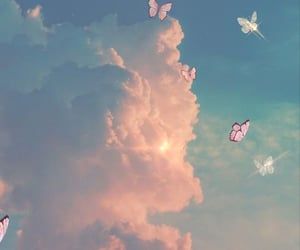 butterfly, clouds, and wallpaper image