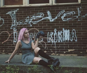 choker, danger, and pink hair image