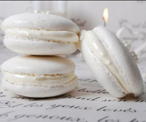white, food, and macaroons image
