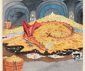 conversation, dragon, and treasure image