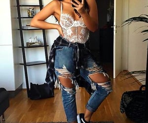 brunette, ripped jeans, and spring outfit image