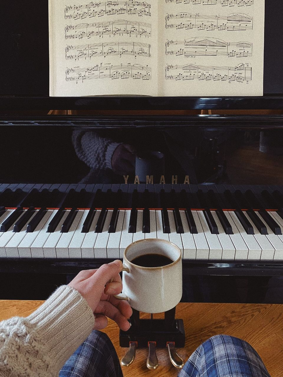piano, coffee, and morning image
