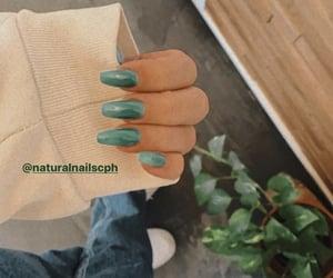 girls, green nails, and nails image