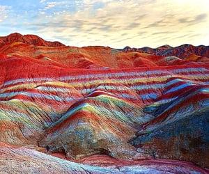 china, mountain, and rainbow image