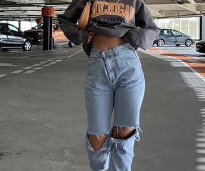 denim jeans, crew neck sweater, and ig inspo image