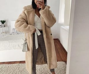 coat, furry coat, and trench coat image