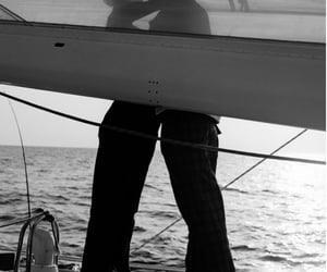 b&w, guy, and sea image