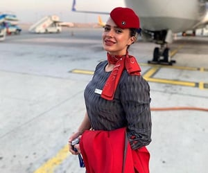 air hostess, Airbus, and flight attendant image