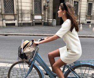 girl, fashion, and bicycle image