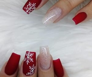 nails, red, and winter image